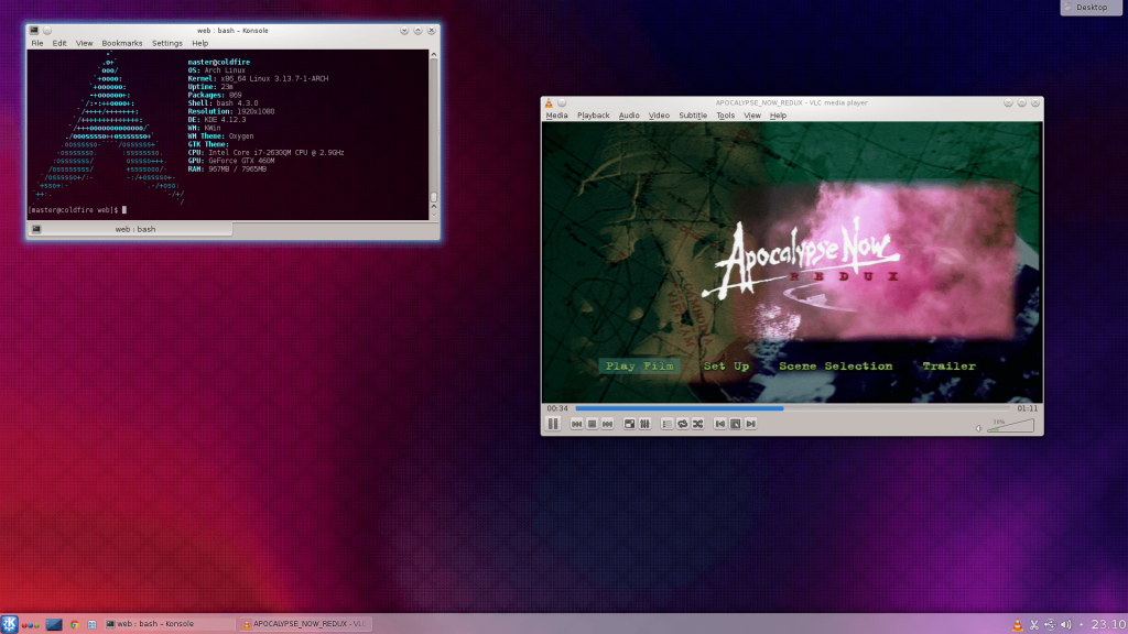 Arch Linux running KDE 4.12.3