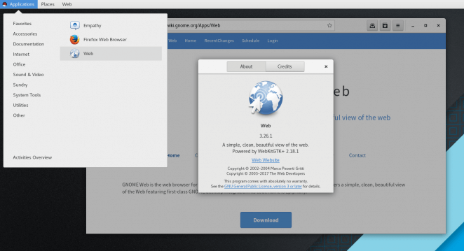 Gnome Web on Red Hat 7.4