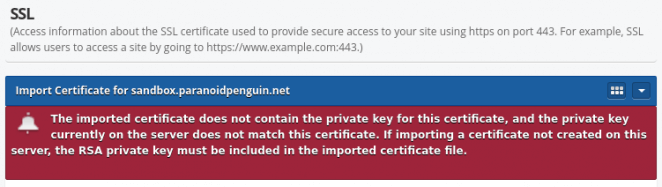 BlueOnyx - Certificate import error