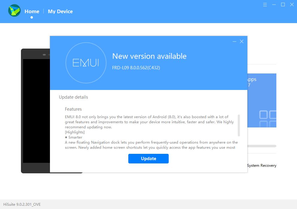 Huawei Honor 8 - HiSuite 9.0.2.301_OVE