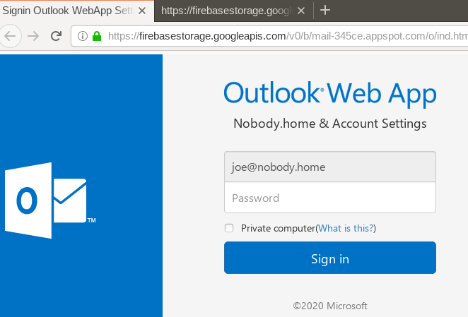 Outlook.com phishing scam
