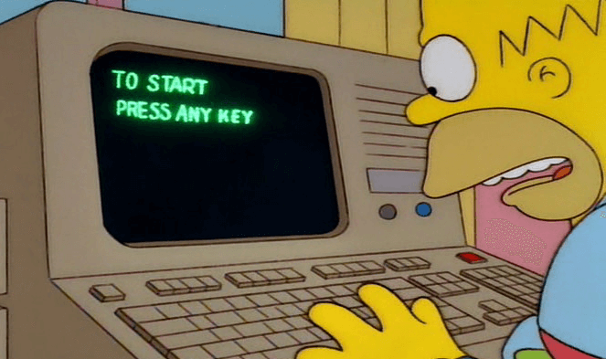 Homer Simpson can't find the any key